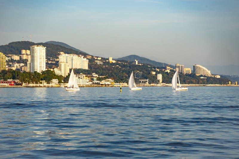 白色游艇航行赛船会在现代温泉镇的背景的 免版税库存照片