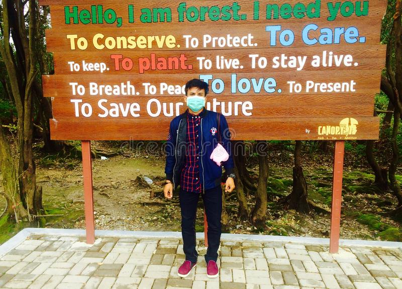 白色火山口保护,从万隆印度尼西亚 免版税库存照片