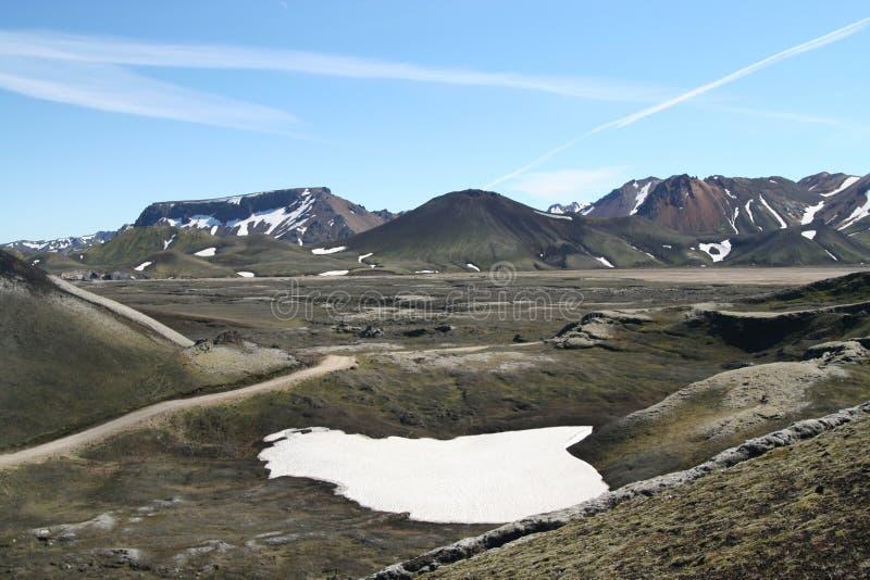 白色熔化其余斑点在贫瘠黑火山的谷的雪在拉基火山火山,冰岛附近 免版税库存照片