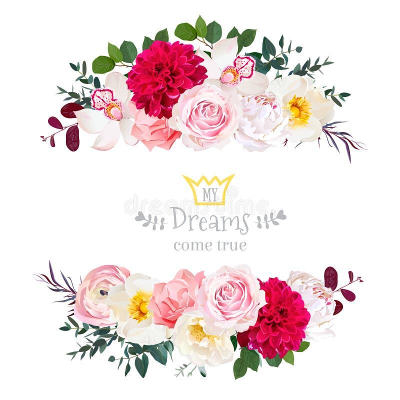 白色牡丹,桃红色玫瑰,兰花,康乃馨开花,兰花, burgu 向量例证