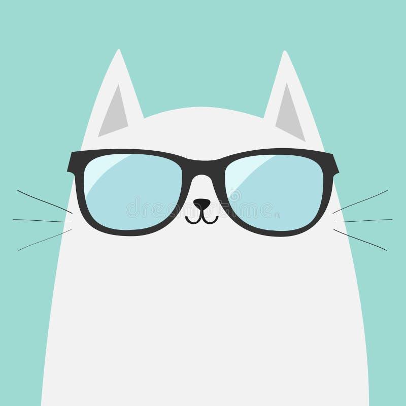 白色猫佩带的太阳镜镜片 光亮的透镜 逗人喜爱的动画片滑稽的字符 在镜片的小猫 时尚动物 蓝色 向量例证