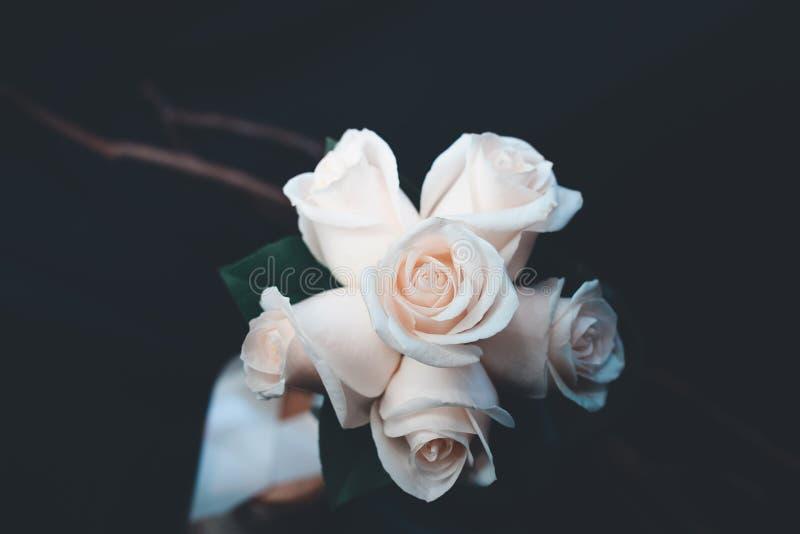 白色玫瑰色花花束美丽的射击  库存图片