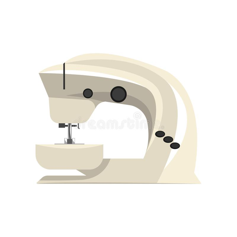白色现代电子缝纫机,裁缝设备在白色背景的传染媒介例证 皇族释放例证