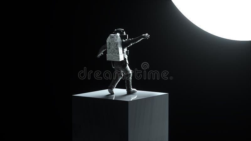 白色现代scaphandre的在空间,3d宇航员回报背景,计算机生成的背景 向量例证
