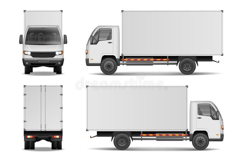 白色现实交付货物卡车 给的边做广告卡车,在白色背景在前后观看隔绝 向量例证