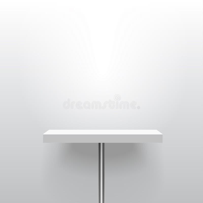 白色现实传染媒介架子或桌在一个杆立场 空的t 库存例证