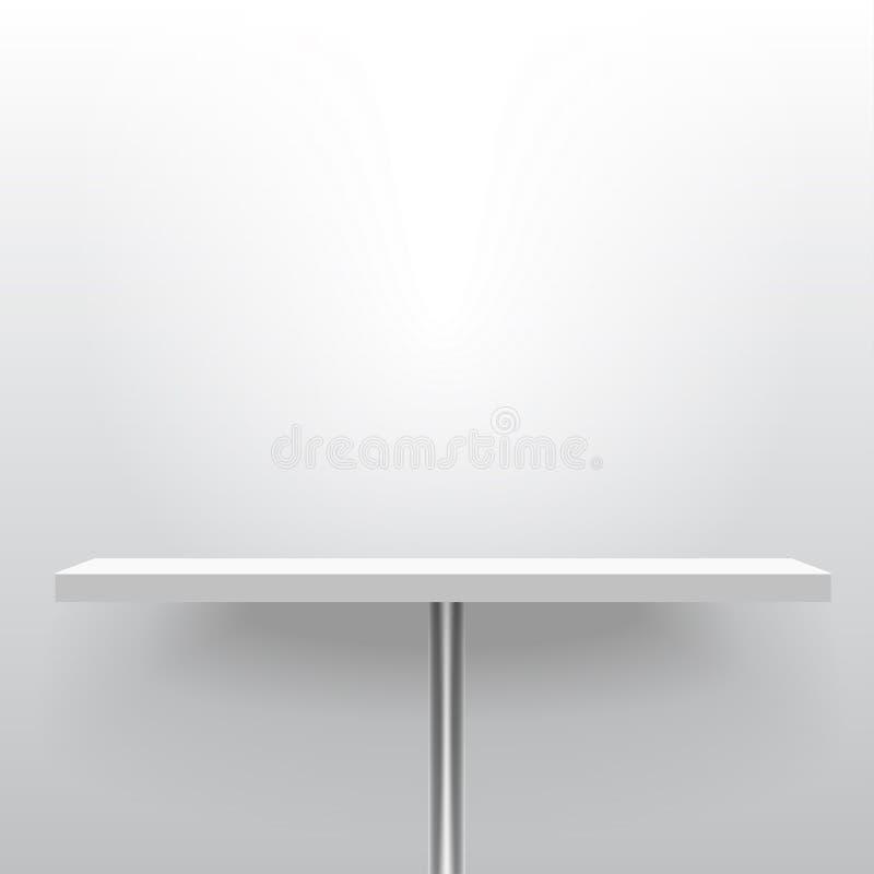 白色现实传染媒介架子或桌在一个杆立场 Adverti 向量例证