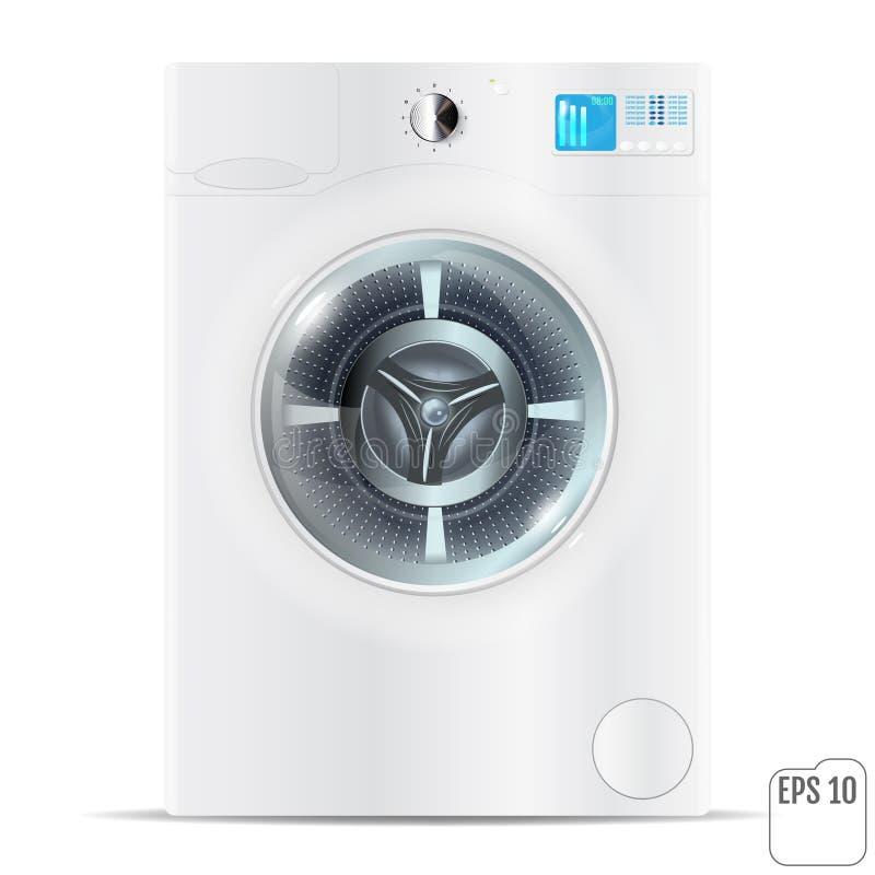 白色现实洗衣机被隔绝在白色背景 库存例证