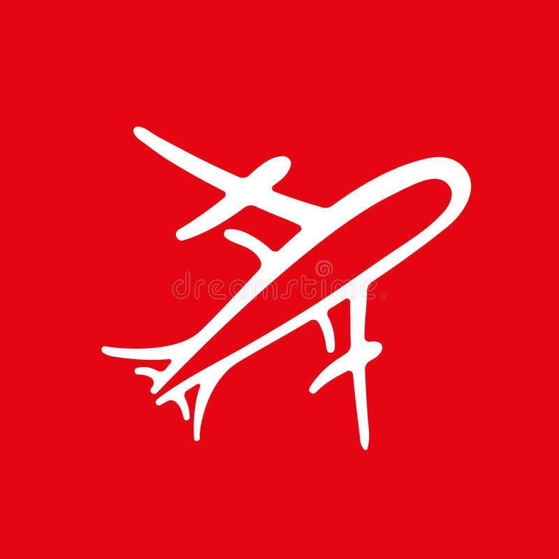 白色现实飞机象在红色背景传染媒介例证的 库存例证