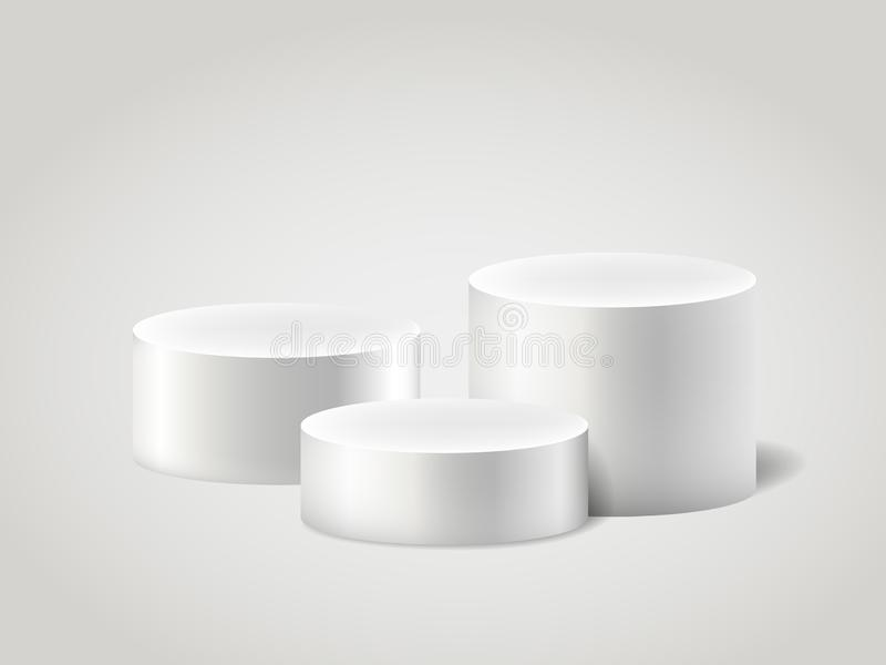 白色现实ylinder和垫座,场面空的立场 3D圆筒传染媒介集合 圈子、指挥台和立场通报 向量例证