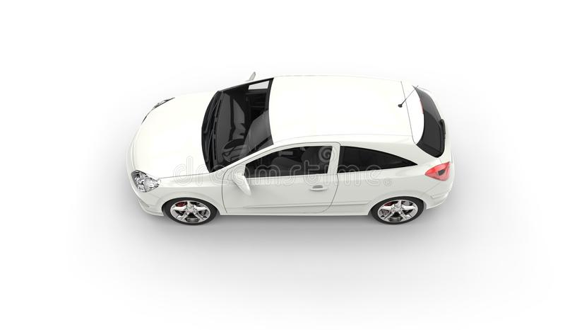 白色现代小型客车顶端视图 库存图片