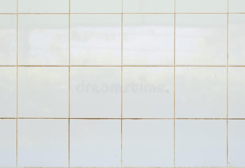 白色瓦片光滑的马赛克陶器材料在卫生间里 库存照片