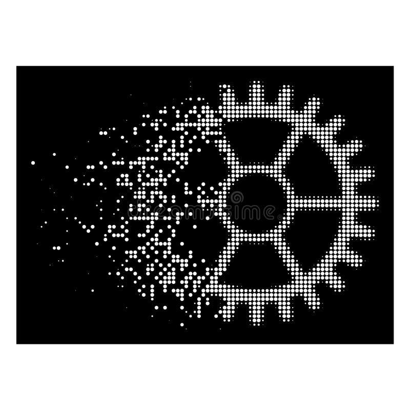 白色瓦解的映象点半音时钟轮子象 库存例证