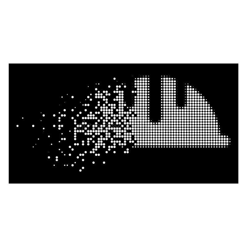 白色瓦解的Pixelated半音盔甲象 向量例证