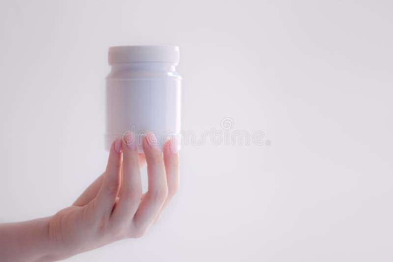 白色瓶医学 免版税库存照片