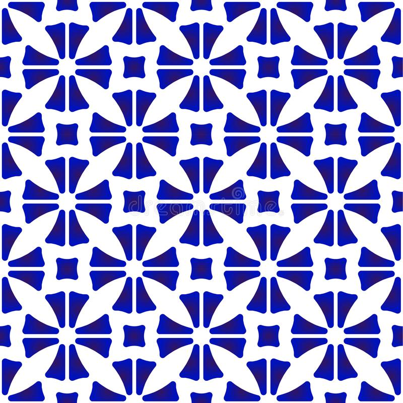 白色瓷的样式蓝色和 库存例证