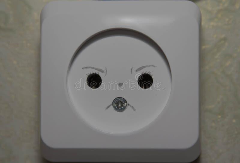 白色电源插座特写镜头 免版税库存照片