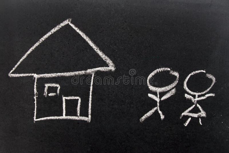 白色白垩手图画一样在家和人们象男性,女性 图库摄影
