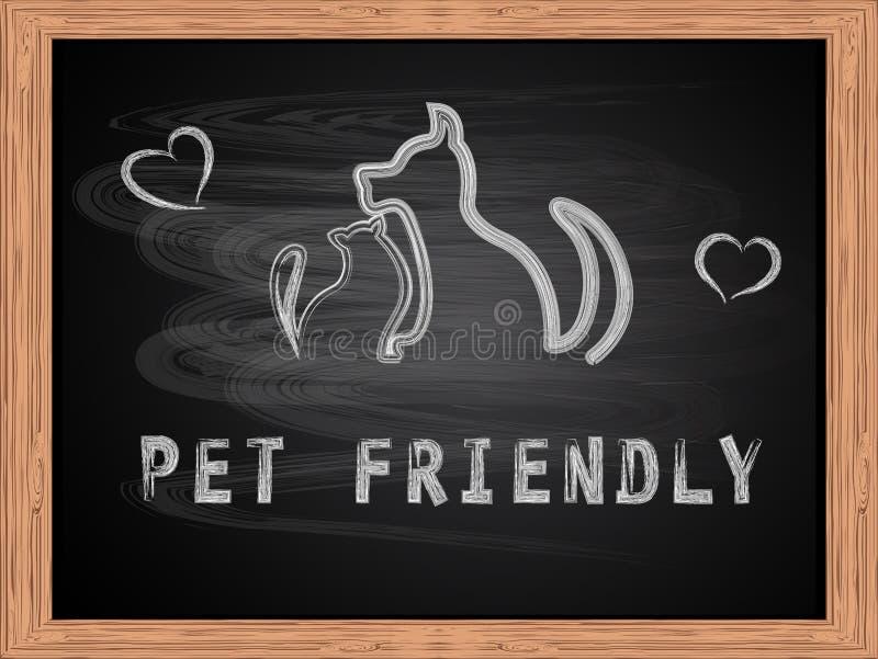 白色白垩文本宠物狗和猫友好和概述剪影在学校黑板平的设计 库存例证