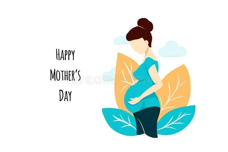 白色的传染媒介平的样式孕妇在母亲节卡片 与叶子和云彩的构成 女性等待孩子fo 免版税库存照片