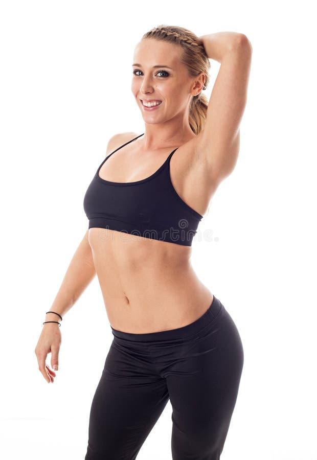 白色的健身妇女 库存照片