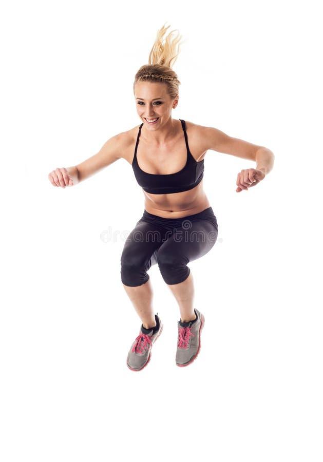 白色的健身妇女 图库摄影
