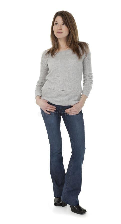 白色的可爱的30岁的妇女 免版税库存照片