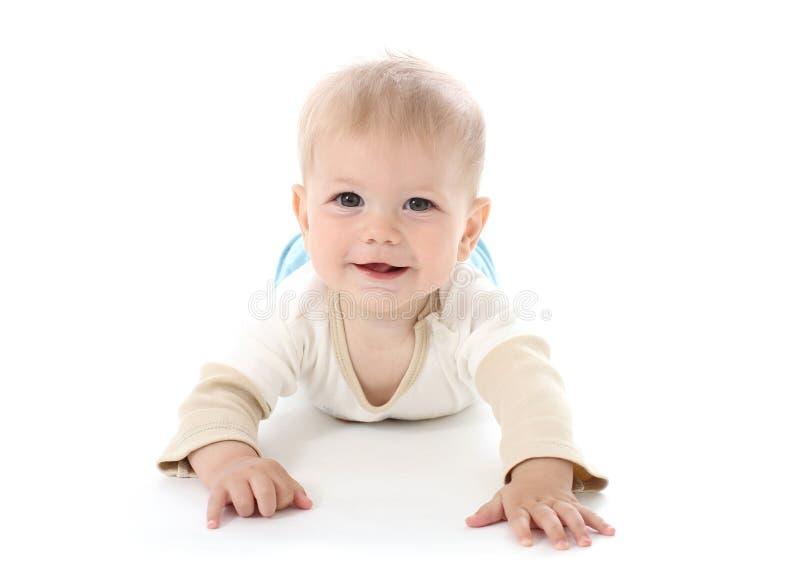 白色的微笑的愉快的婴孩 库存照片