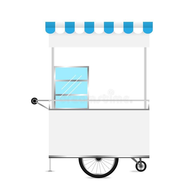 白色的报亭,报亭轮子模板空白用车运送设计、报亭空为市场设计和外部标志的储蓄剪贴美术 皇族释放例证
