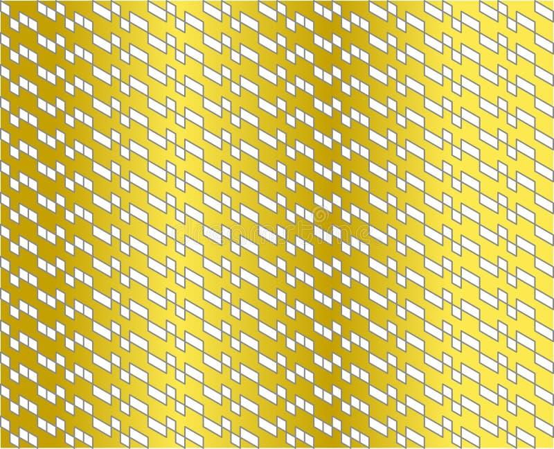 白色的抽象几何样式与灰色线的在金子梯度颜色-导航例证 库存例证
