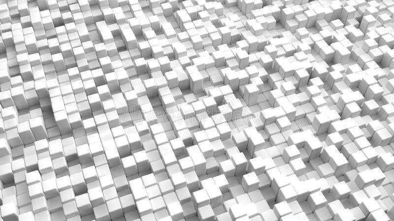 白色的抽象图象求背景的立方 库存例证