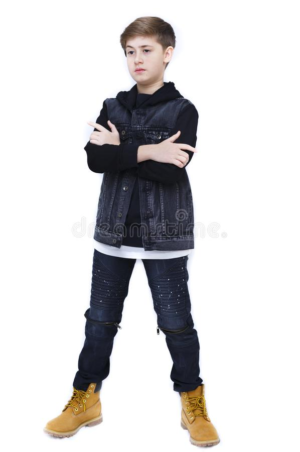 白色的时兴的男孩 图库摄影