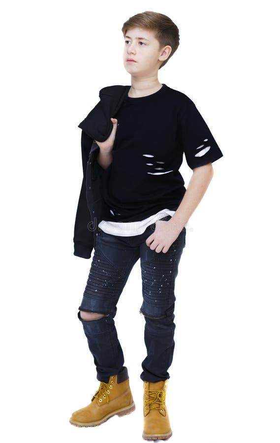 白色的时兴的男孩 免版税库存图片