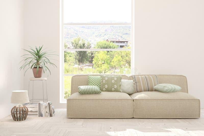 白色的时髦的室与沙发和夏天风景在窗口里 斯堪的纳维亚室内设计 3d?? 库存照片