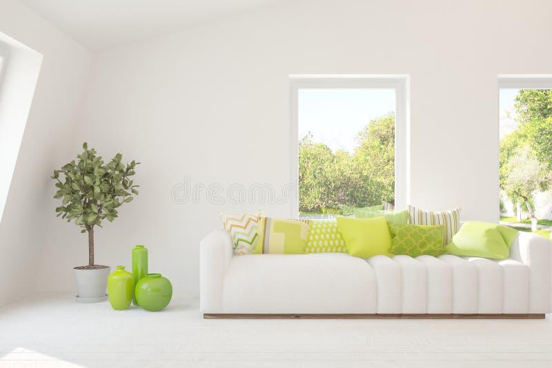 白色的时髦的室与沙发和夏天风景在窗口里 斯堪的纳维亚室内设计 3d?? 免版税库存图片