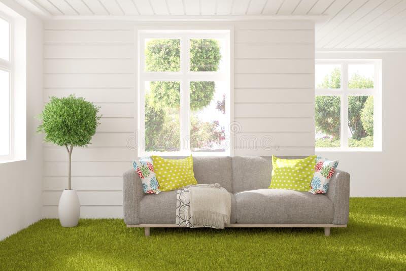 白色的时髦的室与沙发和夏天风景在窗口里 斯堪的纳维亚室内设计 3d?? 库存图片