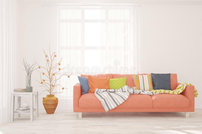 白色的时髦的室与沙发 斯堪的纳维亚室内设计 3d?? 免版税库存图片