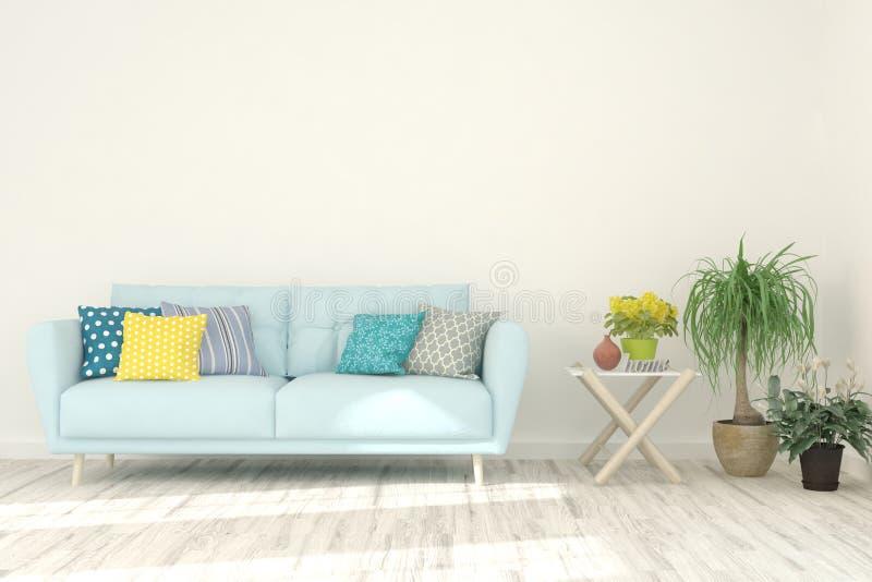 白色的时髦的室与沙发 斯堪的纳维亚室内设计 3d?? 免版税库存照片