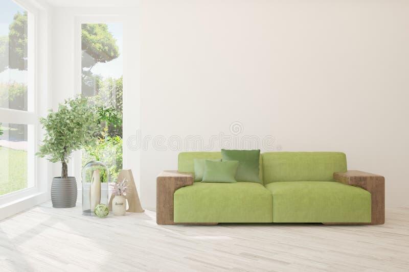 白色的时髦的室与沙发 斯堪的纳维亚室内设计 3d?? 库存图片