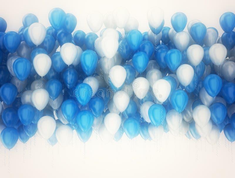白色的气球和蓝色党背景 皇族释放例证