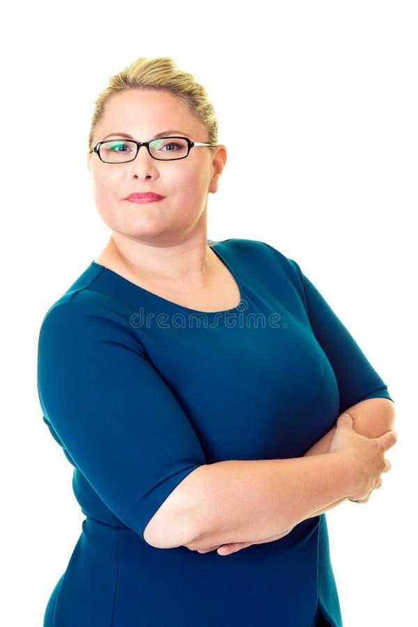 白色的确信的超重女实业家 免版税库存照片