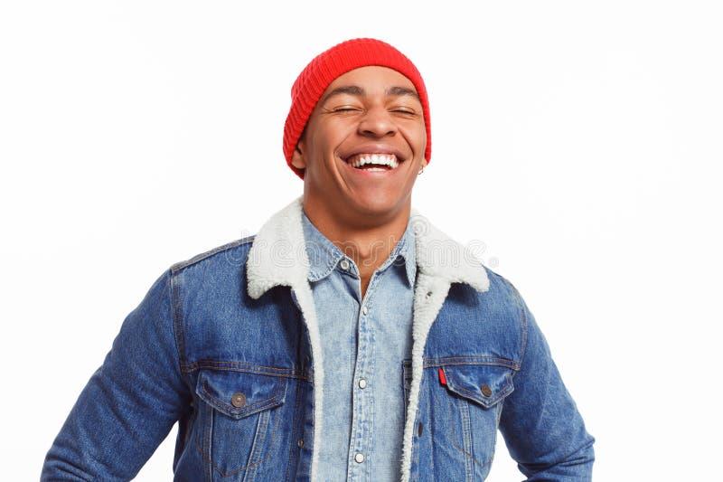 白色的笑的黑人 图库摄影