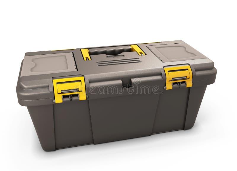 白色的背景配件箱关闭查出的工具 向量例证