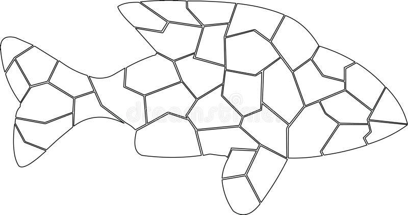 白色的颜色与黑概述的 孤独的鱼 向量例证