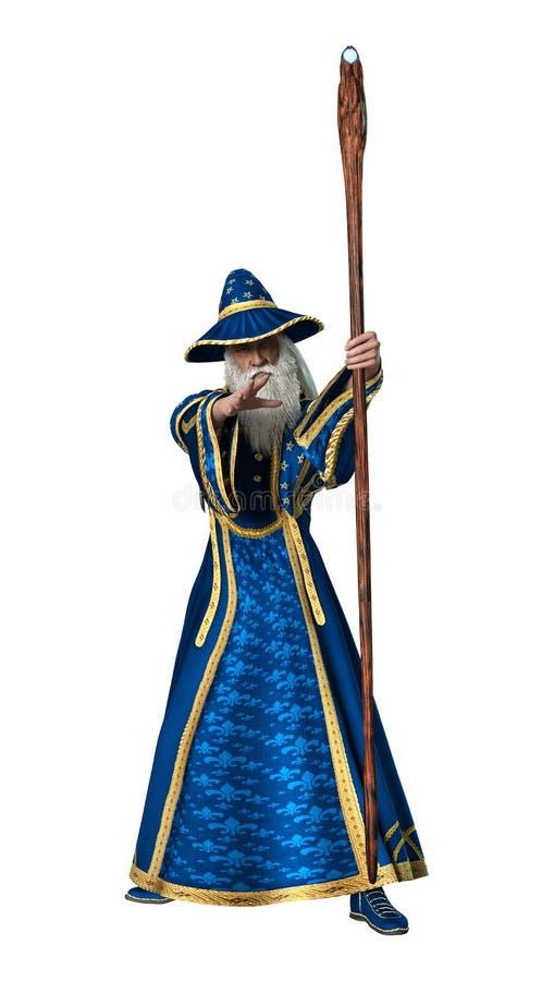 白色的幻想巫术师 向量例证