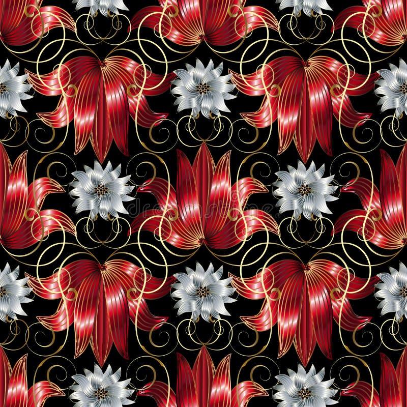 白色的3d和红色开花无缝的样式 传染媒介花卉黑色b 向量例证