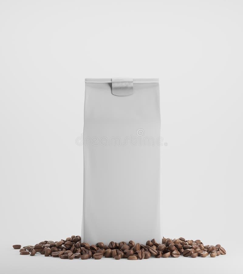 白色盒反对白色背景的咖啡 向量例证