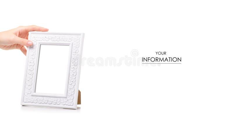 白色相框手中样式 库存图片