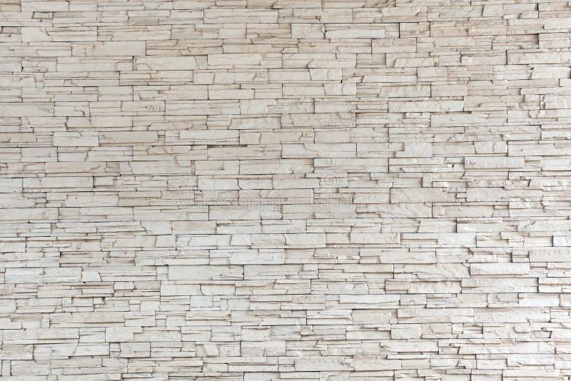 白色石瓦片纹理砖墙 免版税库存图片