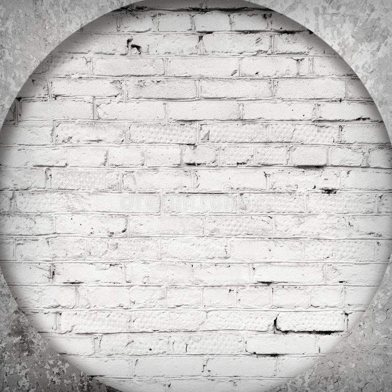 白色砖和水泥内部  免版税库存图片
